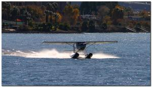 1969 Cessna 150J Float Plane landing on the Colorado River.